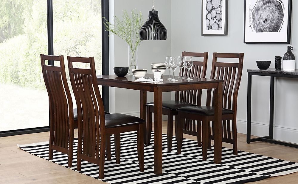 Milton Dark Wood Dining Table and 4 Java Chairs Set