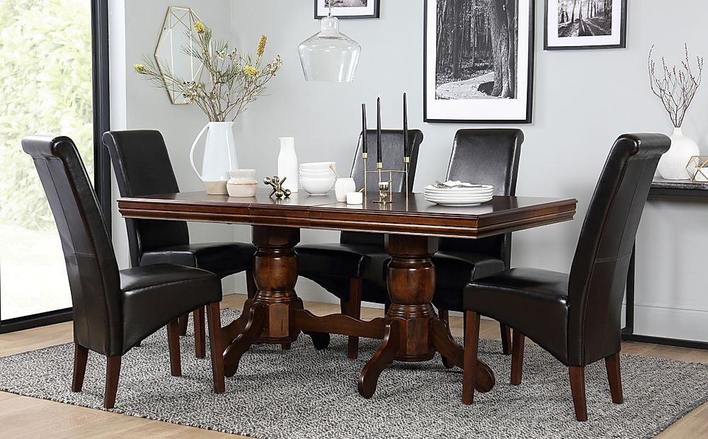 Chatsworth Extending Dark Wood Dining Table and 6 Chairs Set (Boston Dark Brown)