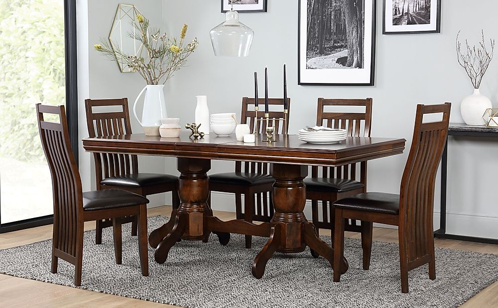 Chatsworth Extending Dark Wood Dining Table and 4 Java Chairs Set