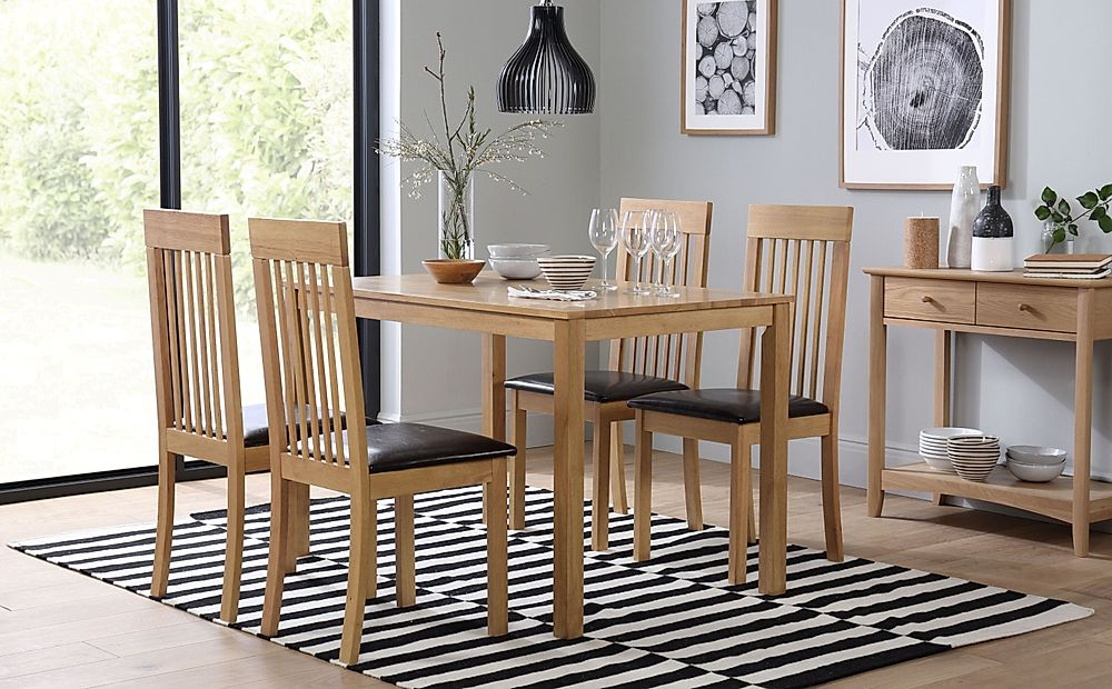 Milton Dining Table and 4 Chairs Set (Oxford Light)