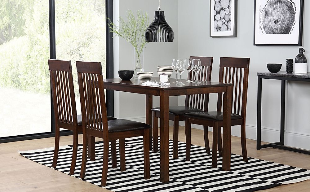 Milton Dark Wood Dining Table with 4 Oxford Chairs (Brown Leather Seat Pad)
