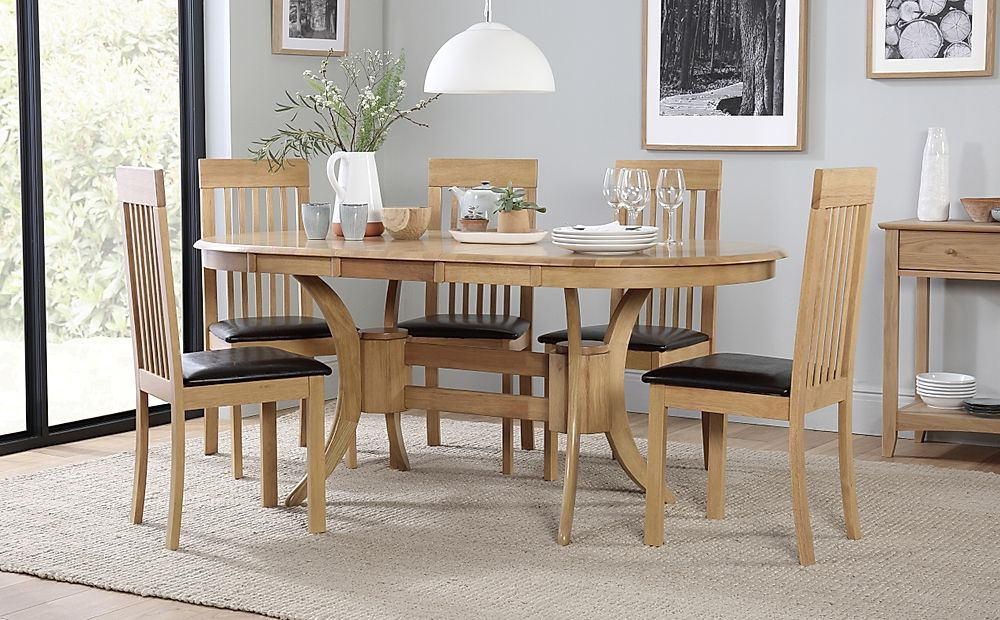 Townhouse Oval Oak Extending Dining Table with 4 Oxford Light Chairs (Brown Leather Seat Pads)