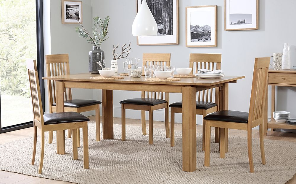 Bali Oak Extending Dining Table with 6 Oxford Chairs (Brown Leather Seat Pads)