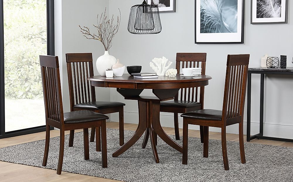 Hudson Round Extending Dark Wood Dining Table and 4 Oxford Chairs Set
