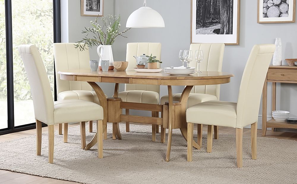 Townhouse Oval Extending Dining Table & 4 Chairs Set (Carrick Ivory)