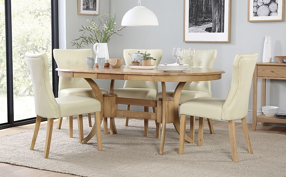 Townhouse Oval Extending Dining Table & 4 Chairs Set (Bewley Ivory)