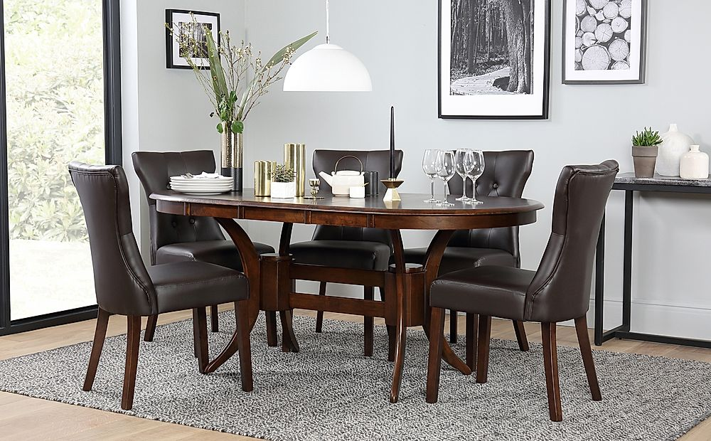 Townhouse Oval Dark Wood Extending Dining Table and 4 Chairs Set (Bewley Dark Brown)