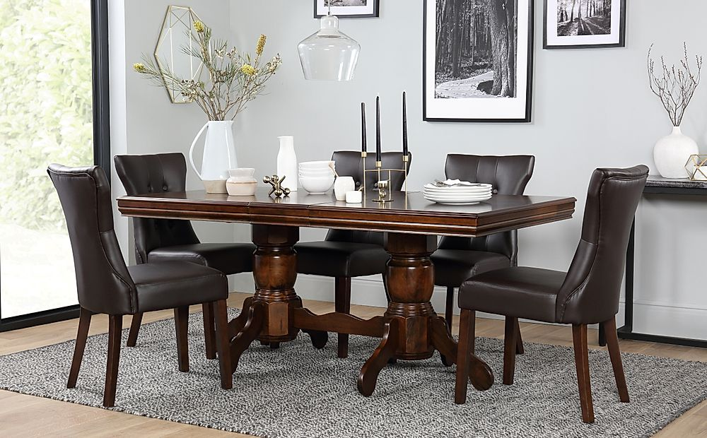 Chatsworth Dark Wood Extending Dining Table with 4 Bewley Brown Leather Chairs