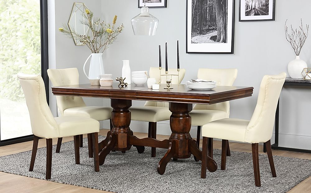 Chatsworth Dark Wood Extending Dining Table with 4 Bewley Ivory Leather Chairs