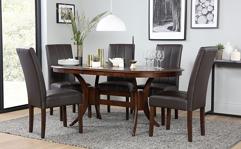 Townhouse Oval Dark Wood Extending Dining Table and 6 Chairs Set (Carrick Dark Brown)