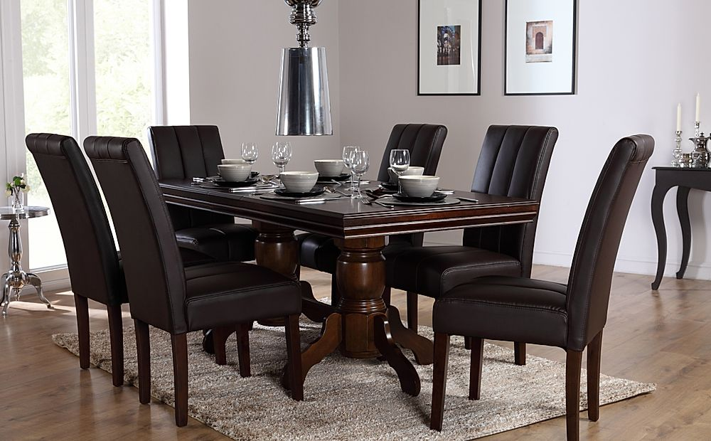 Chatsworth Dark Wood Extending Dining Table and 6 Chairs Set (Carrick Dark Brown)