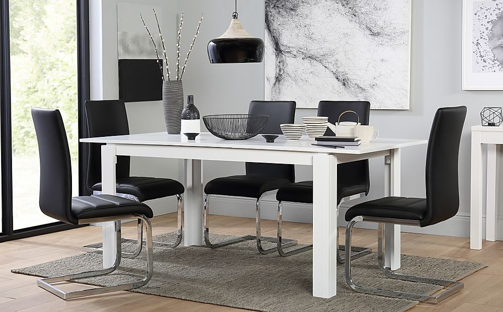 Aspen White Extending Dining Table with 6 Perth Black Leather Chairs