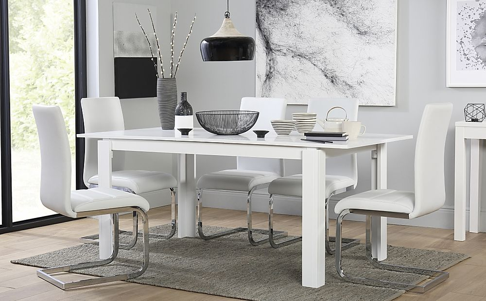 Aspen White Extending Dining Table with 6 Perth White Leather Chairs