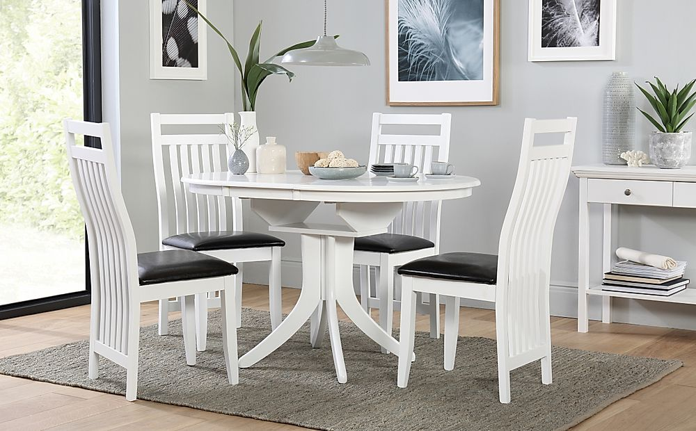 Hudson Round White Extending Dining Table with 6 Java Chairs (Black Leather Seat Pad)