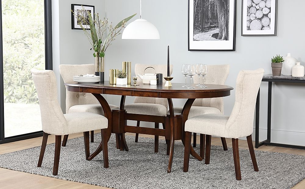 Townhouse Oval Dark Wood Extending Dining Table and 6 Chairs Set (Bewley Oatmeal)