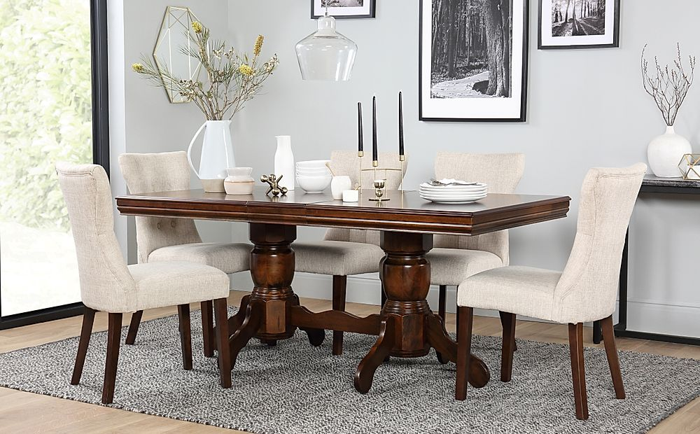 Chatsworth Dark Wood Extending Dining Table and 4 Chairs Set (Bewley Oatmeal)
