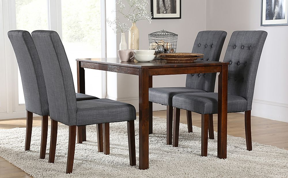 Milton Dark Wood Dining Table with 6 Regent Slate Fabric Chairs
