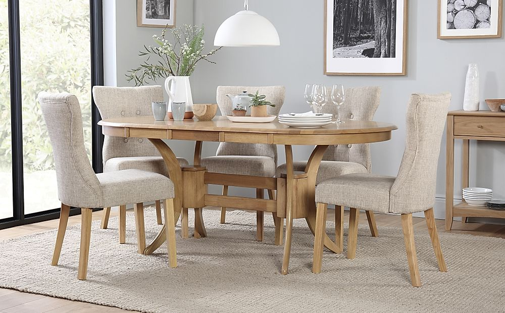 Townhouse Oval Oak Extending Dining Table with 6 Bewley Oatmeal Fabric Chairs