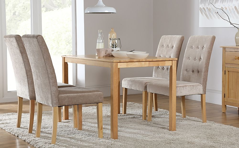 Milton Dining Table and 6 Chairs Set (Regent Oatmeal)