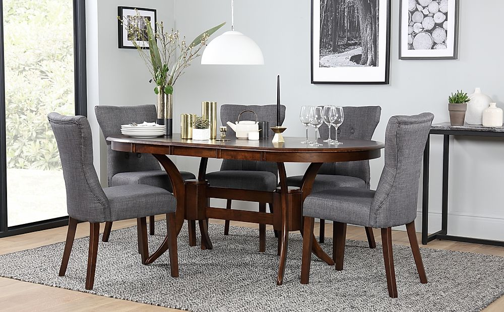 Townhouse Oval Dark Wood Extending Dining Table with 6 Bewley Slate Fabric Chairs