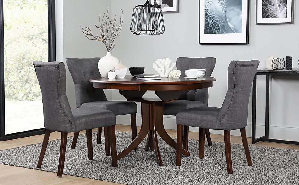 Hudson Round Dark Wood Extending Dining Table and 4 Chairs Set (Bewley Slate)