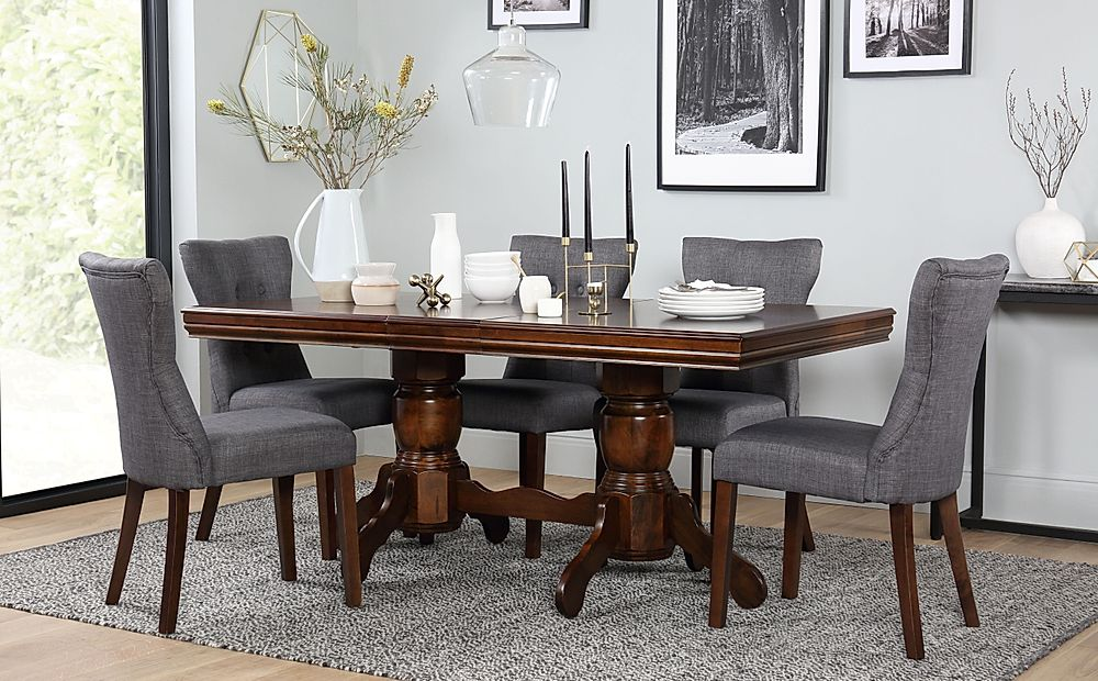 Chatsworth Dark Wood Extending Dining Table and 6 Chairs Set (Bewley Slate)