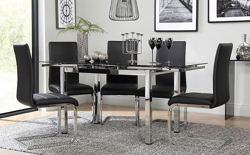 Space Chrome & Black Glass Extending Dining Table with 6 Perth Black Leather Chairs