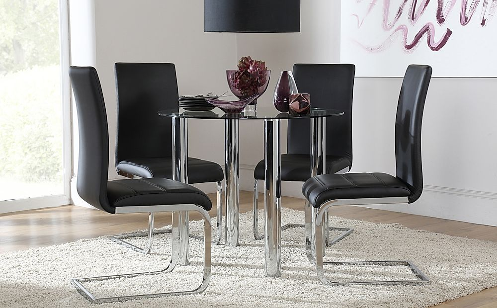 Solar Glass and Chrome Dining Table with 4 Perth Black Leather Chairs