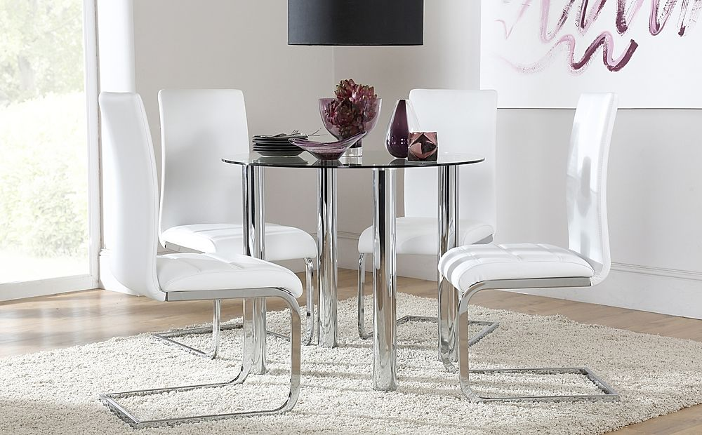 Solar Glass and Chrome Dining Table with 4 Perth White Leather Chairs