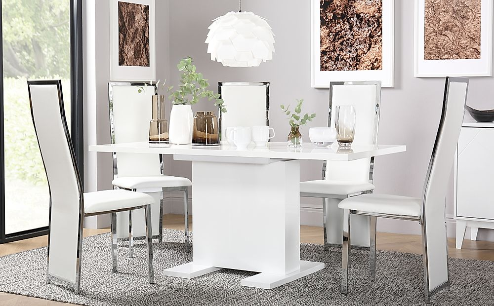 Osaka White High Gloss Extending Dining Table with 4 Celeste White Leather Chairs