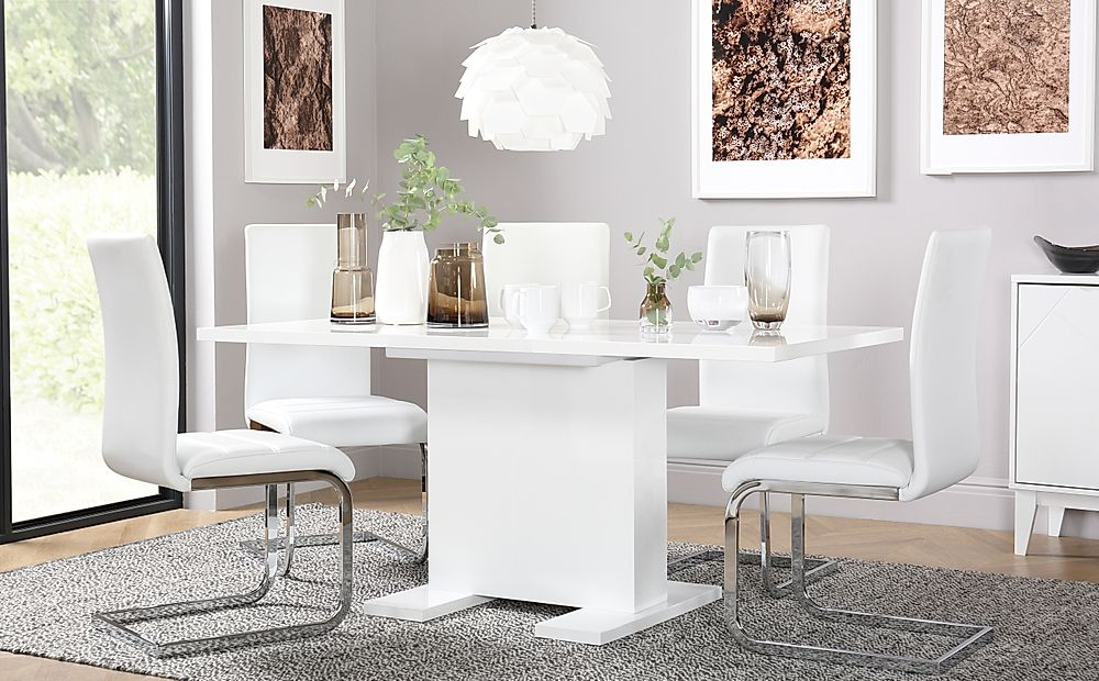 Osaka White High Gloss Extending Dining Table with 4 Perth White Leather Chairs