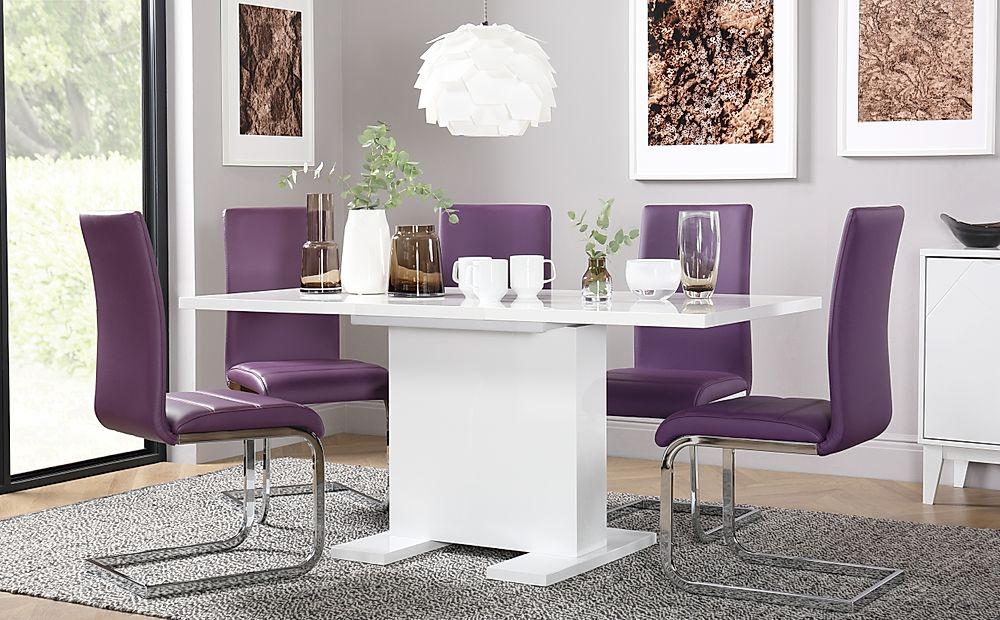 Osaka White High Gloss Extending Dining Table with 4 Perth Purple Leather Chairs