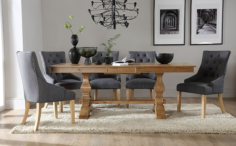 Cavendish Oak Extending Dining Table with 6 Duke Slate Fabric Chairs