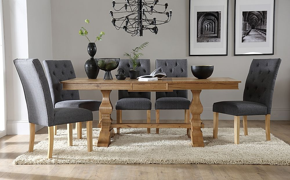 Cavendish Oak Extending Dining Table with 6 Hatfield Slate Chairs