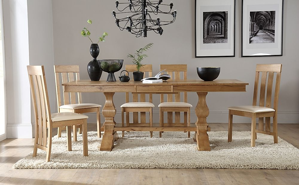 Cavendish Oak Extending Dining Table with 4 Chester Chairs (Ivory Leather Seat Pads)