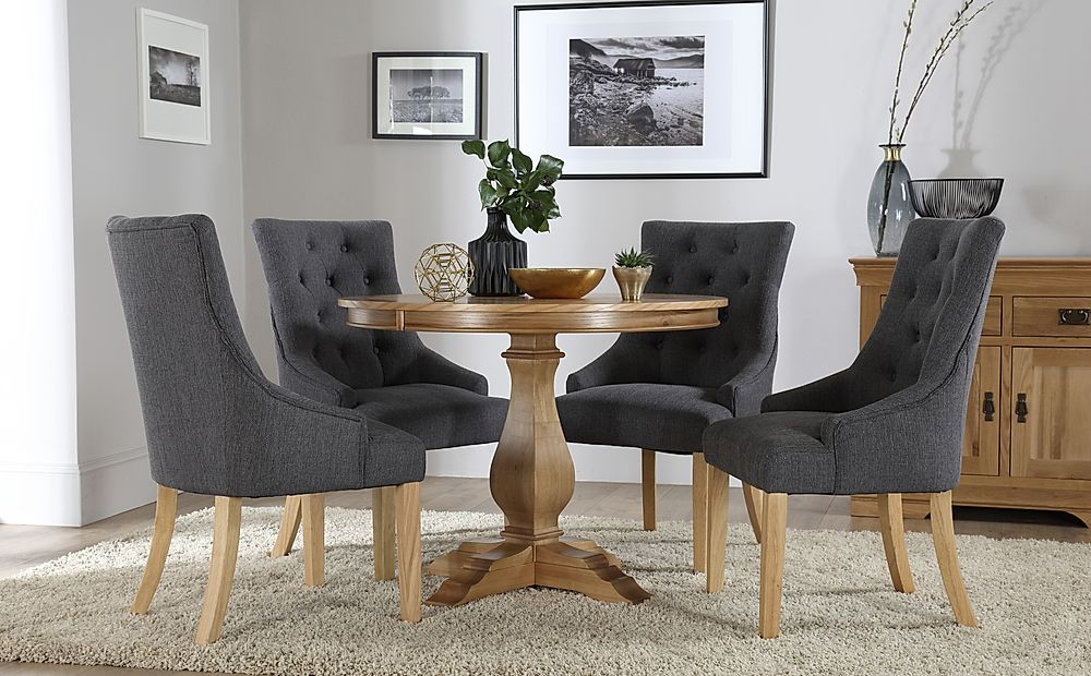 Cavendish Round Oak Dining Table with 4 Duke Slate Chairs