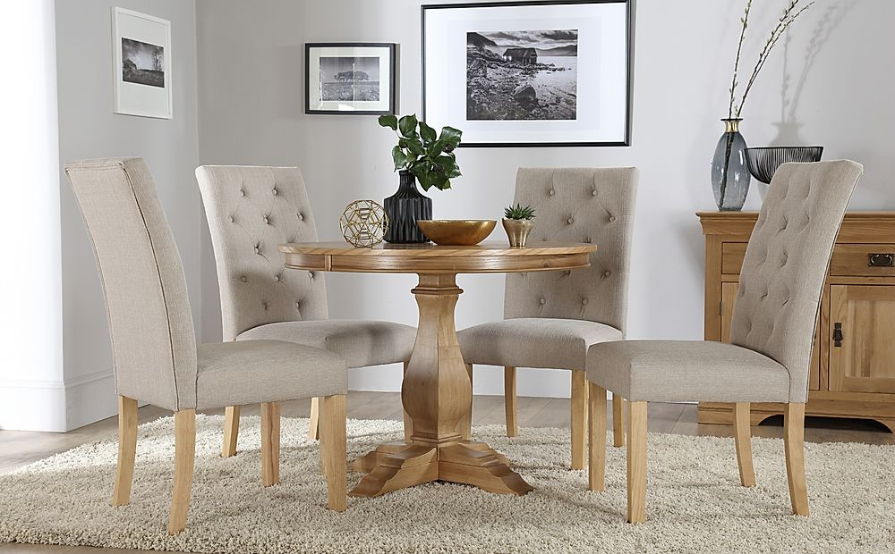 Cavendish Round Oak Dining Table with 4 Hatfield Oatmeal Fabric Chairs