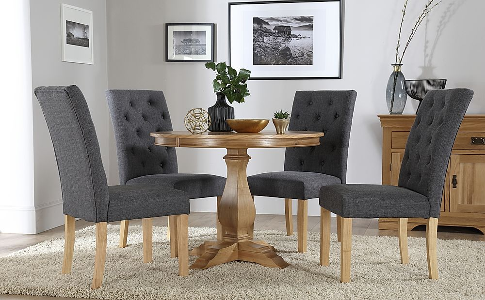 Cavendish Round Oak Dining Table with 4 Hatfield Slate Chairs
