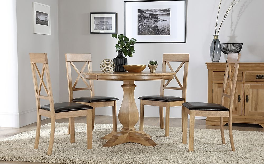 Cavendish Round Oak Dining Table with 4 Kendal Chairs (Brown Seat Pad)