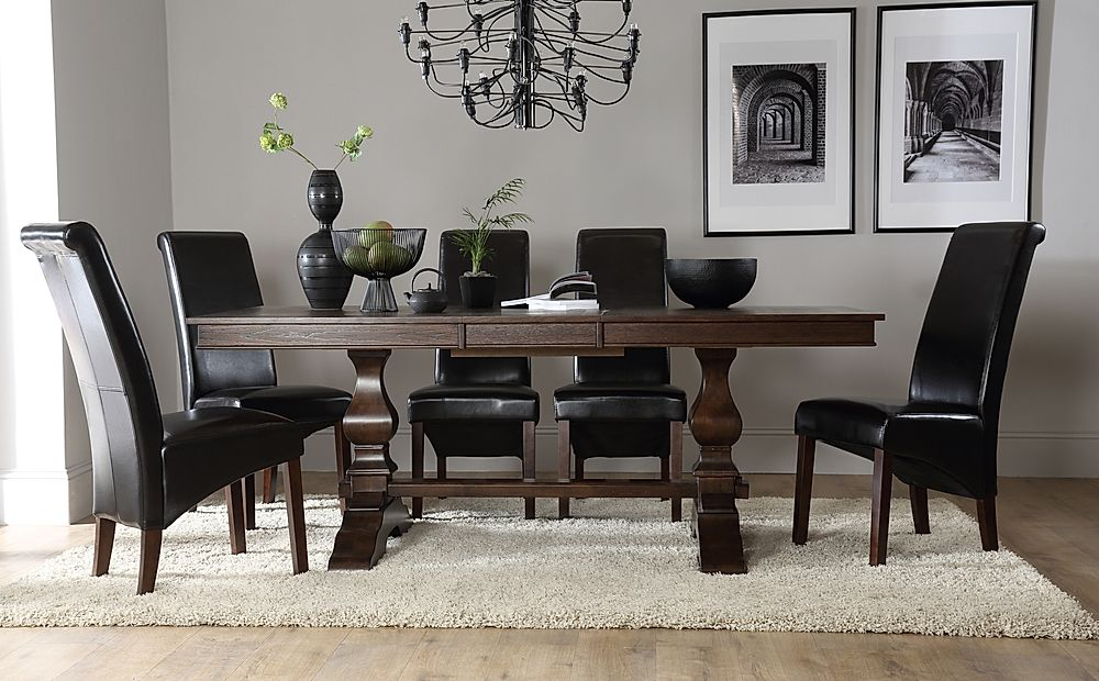 Cavendish Dark Wood Extending Dining Table with 8 Boston Brown Chairs
