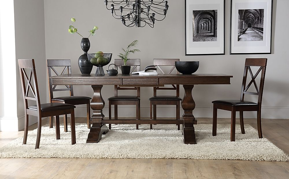 Cavendish Dark Wood Extending Dining Table with 6 Kendal Chairs (Brown Seat Pad)