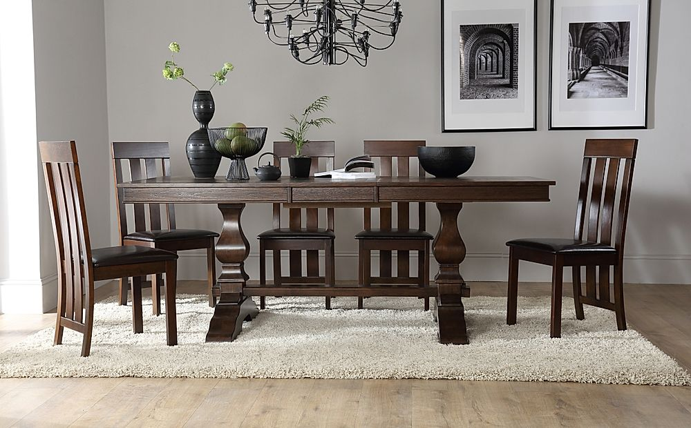 Cavendish Dark Wood Extending Dining Table with 8 Chester Chairs (Brown Seat Pad)