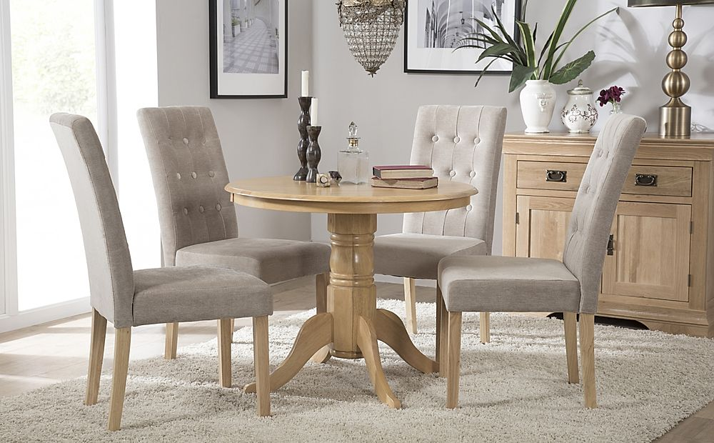 Kingston Round Oak Dining Table with 4 Regent Oatmeal Fabric Chairs