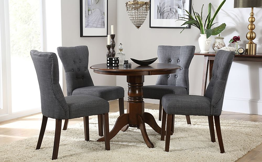 Kingston Round Dark Wood Dining Table with 4 Bewley Slate Chairs