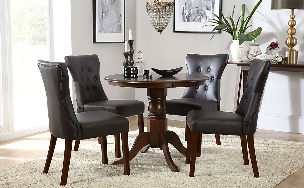 Kingston Round Dark Wood Dining Table with 4 Bewley Brown Leather Chairs