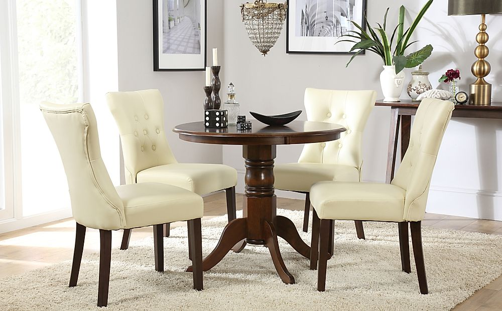 Kingston Round Dark Wood Dining Table with 4 Bewley Ivory Leather Chairs