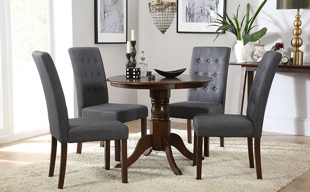 Kingston Round Dark Wood Dining Table with 4 Regent Slate Fabric Chairs