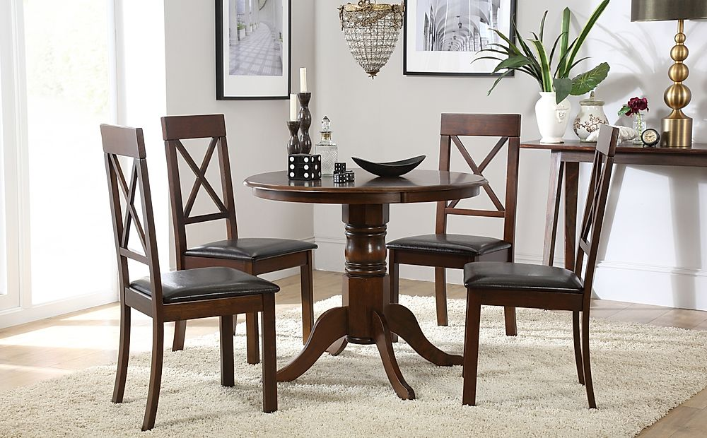 Kingston Round Dark Wood Dining Table With 4 Kendal Chairs