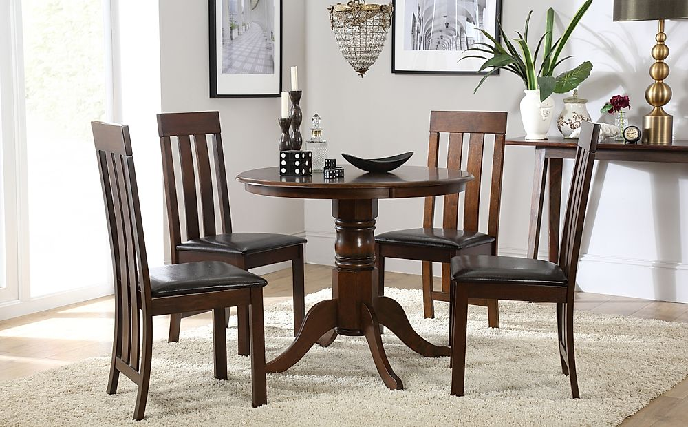 Kingston Round Dark Wood Dining Table with 4 Chester Chairs (Brown Leather Seat Pads)