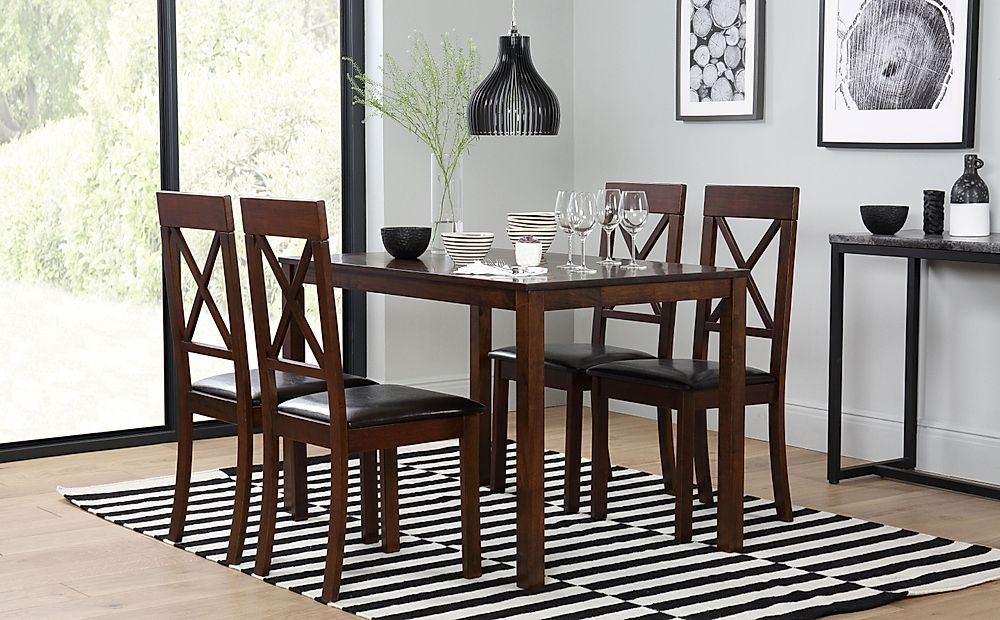 Milton Dark Wood Dining Table with 4 Kendal Chairs (Brown Leather Seat Pads)